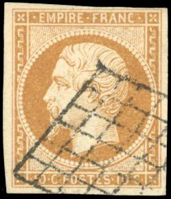 Francia - Empire imperforate 1853 1860 - 10 cents bistre-brown - Grid cancelation - Beautiful - Behr - Yvert 13Ac