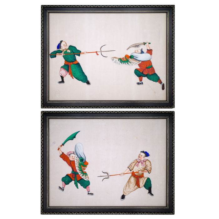 Pinturas (2) - Gouache, Papel de arroz - Pair of Chinese Pith Paintings Depicting Martial Artists. Framed and Glazed - China - siglo XIX