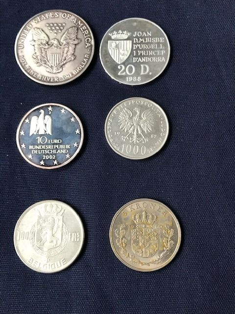 World. Lot various coins 1950/2002 (6 pieces) with 5x silver