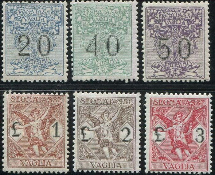 Royaume d'Italie 1924 - Postage-due stamps for postal order, 6 values - Sassone N. 1/6