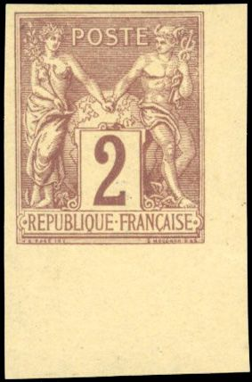 Francia - Allegorical Group 1876 1900 - 2 cents brown-red - Imperforate - Sheet corner - Superb - Certificate - Yvert 85b