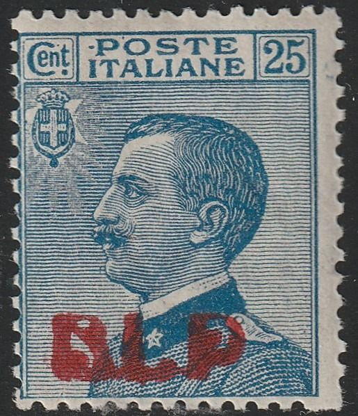 Königreich Italien 1921 - BLP 1st issue 25 c. light blue (R) intact and rare, with several expert's reports - Sassone N.3