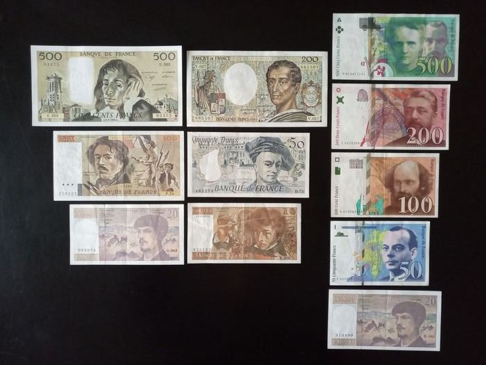 France - 11 banknotes - Various dates