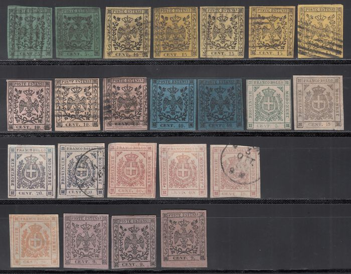 Italian Ancient States - Modena 1852/1859 - Lot of new and used stamps, different values and colors,