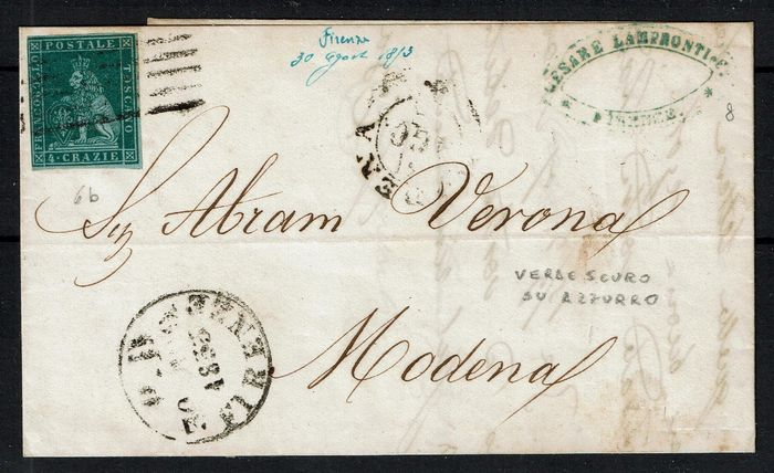 Italy 1851 - Old States Tuscany, letter with 4 crazie from Florence to Modena - Sassone 6