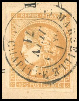 Francia - Bordeaux issue 1870 1871 - 10 cents bistre - Cancelled with date stamp T17 - Beautiful - Certificate - Yvert 43B