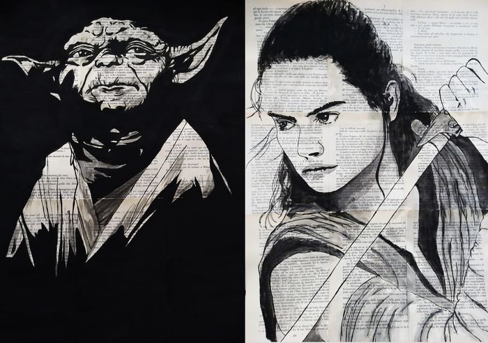Star Wars - Lot of 2 - Yoda and Rey - Kunstwerk, Acrylic, watercolor on old paper (50x42 cm) - Original drawings by Andrea Boriani