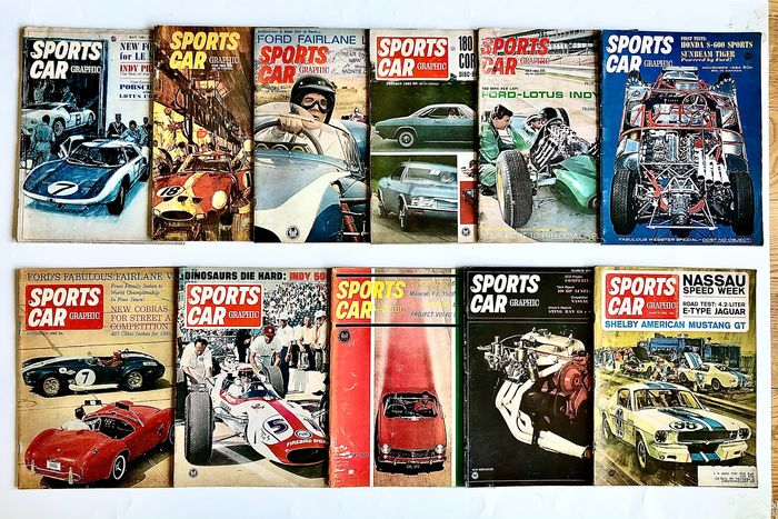 Books - Sports Car Graphic Magazine - 1963-1965 - 11 Issues - Vintage Sport Cars - 1960-1970