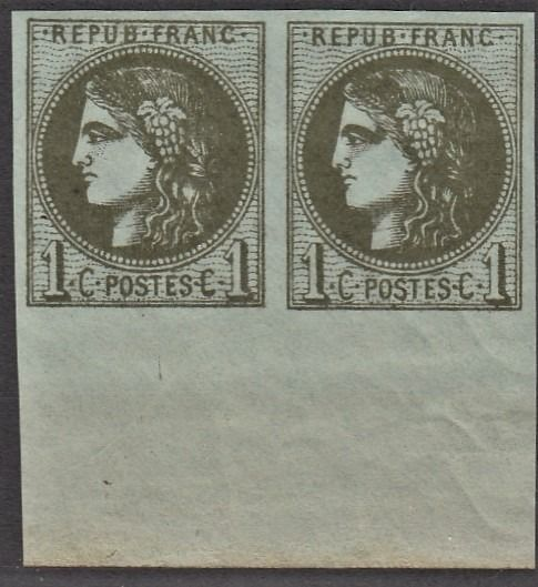 Frankreich - Bordeaux issue - 1 centime dark olive pair with sheet margin, mint** DELUXE, signed Scheller - Yvert 39