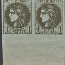 Francia - Bordeaux issue - 1 centime dark olive pair with sheet margin, mint**, deluxe, signed Scheller. - Yvert 39