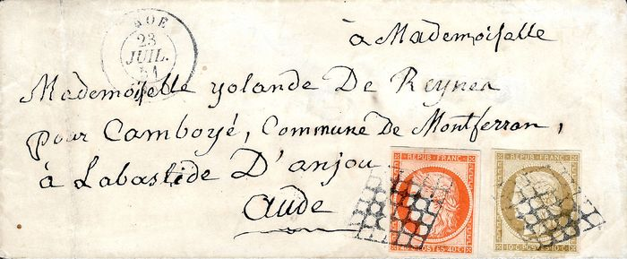 Frankreich 1850 - Ceres 10 cts 40 cts bright orange on letter 1-5a
