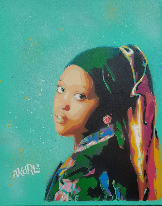 AKORE - 'Afro Girl with a Jewel Earring' (Hommage to Vermeer)