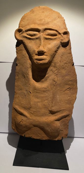 Ancient Egyptian Terracotta Big and Nice Canaanite Egyptian New Kingdom Terracotta Sarcophagus Mask. 42 cm Height.