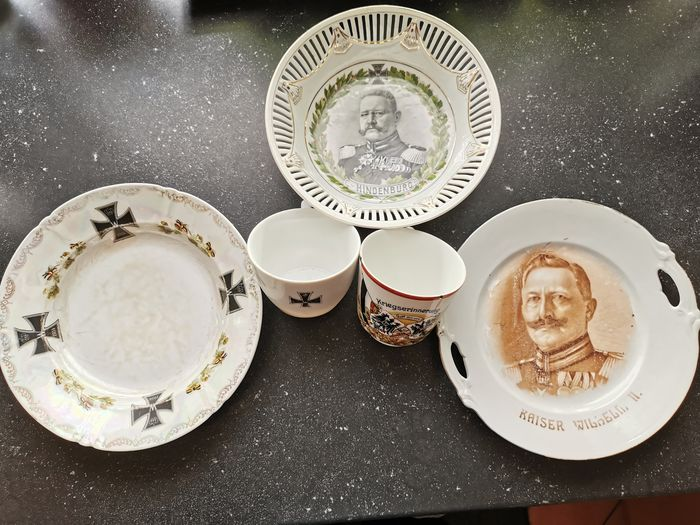 Germany - 5x convolut Patriotic porcelain plates and cups 1st World War 1914 pierced Iron Cross - 1914