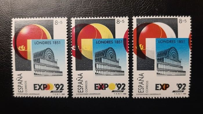 Spain 1989 - Expo' 92. Seville. Three stamps with different printing errors. - Filabo 2990 d + l + p