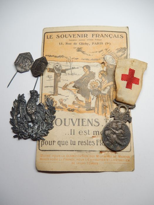 France - Army/Infantry - Lot medal insignia war 14 18 + card (E12A) - 1914