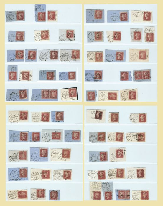 Großbritannien 1857 - Collection 64 Victoria Penny Red Stars - letter fragments - all plated ! - Stanley Gibbons C10