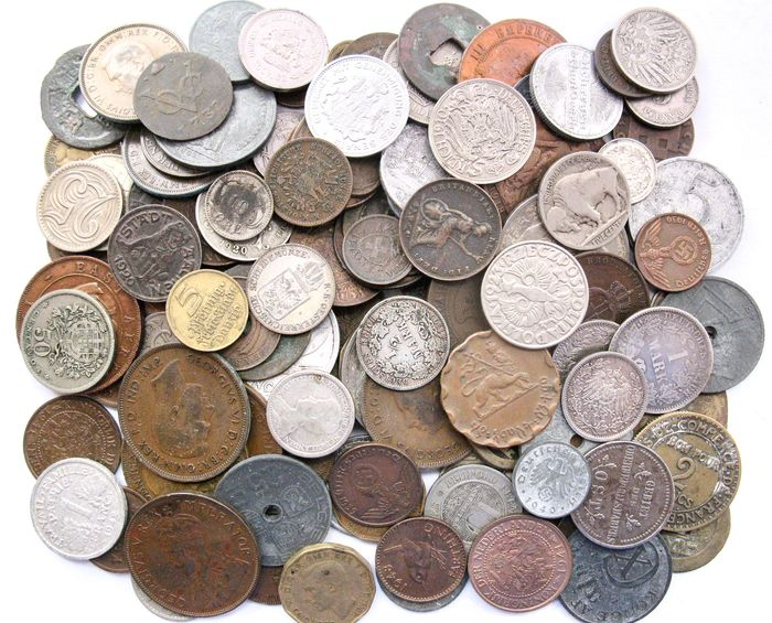 Mundo. Lot various old coins 1732/1949 (123 pieces) incl. silver