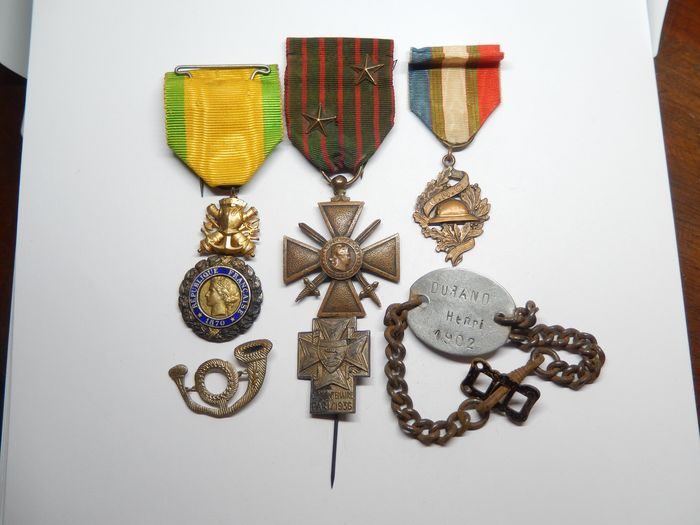 France - Army/Infantry - Lot 14-18 war medals + soldier's plaque (E12A) - 1914