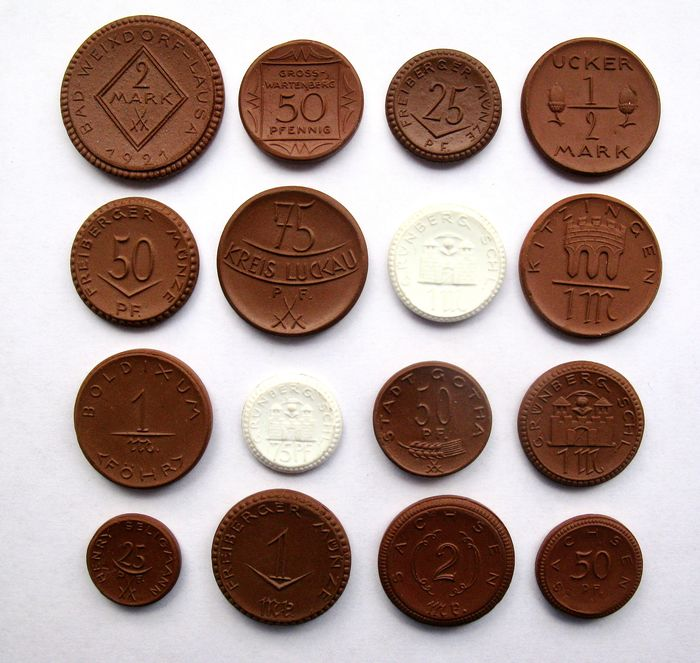 Germany, Weimar Republic. Porcelain emergency coins 25 Pfennig up to and including 2 Mark 1921/1922 (16 different coins)