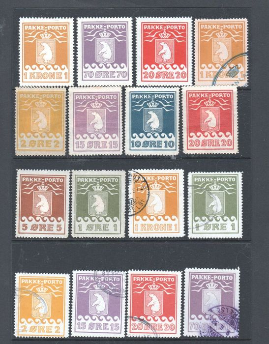 Groenlandia 1905/1937 - Postal orders collection of new and used stamps (16 items).