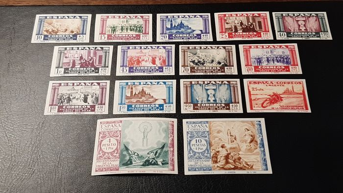 Espagne 1940 - 19th Centennial of the apparition of Our Lady of the Pillar in Zaragoza. Complete imperforated set. - Edifil 889s/903s