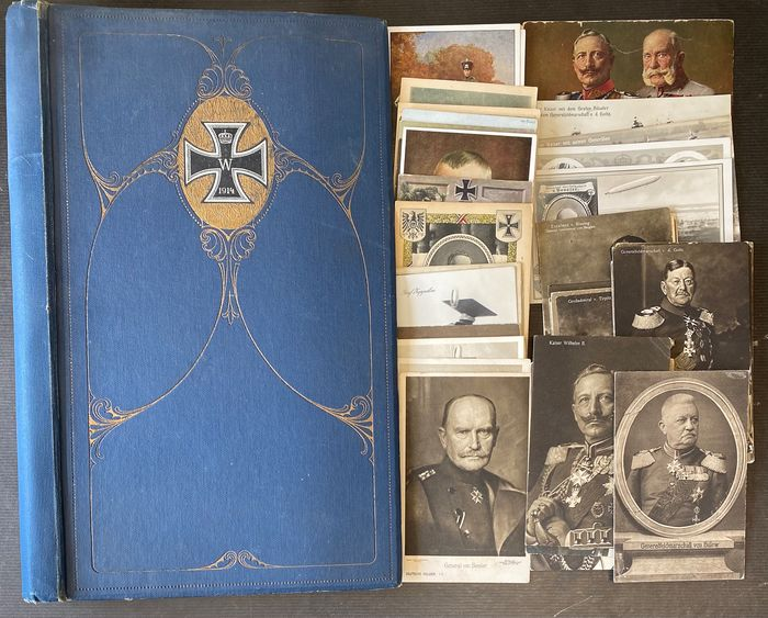 """Germany 1st World War - Photo album """"From the great time 1914-15"""" with 65 postcards military, emperor, generals"""