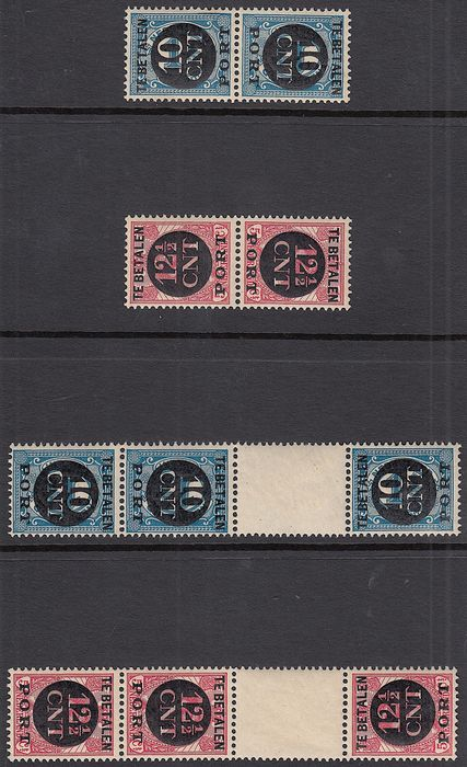 Pays-Bas 1924 - Postage due stamps tête-bêches - NVPH P67a/P68b
