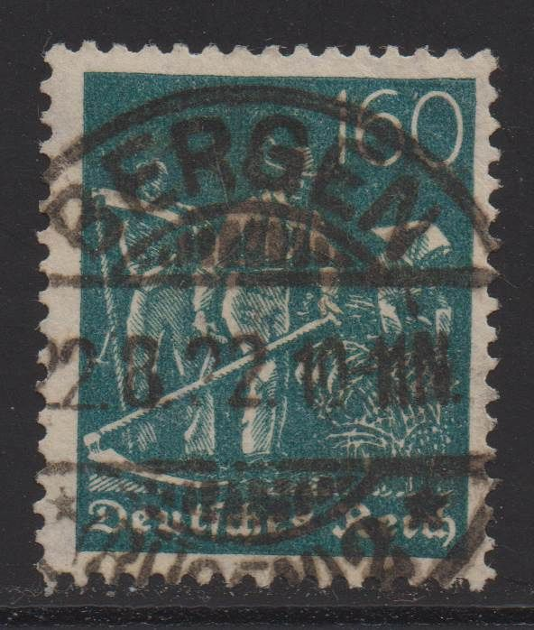 """Empire allemand 1922 - """"Workers"""", 160 pfennigs with waffle watermark - Michel 190"""