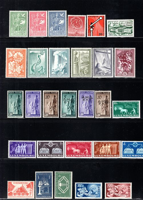 United Europe - Cept 1950/1956 - Complete set of Forerunners