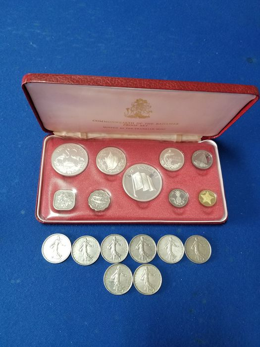 Bahamas, Frankreich. 1974 Commonwealth of the Bahamas Proof Set Franklin Mint / 1960-66, 8 x 5 Francs