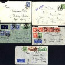 Chine - 1878-1949 - 5 real letters 1938/1939 - post mailed for non-philatelic purpose to Germany with censorship