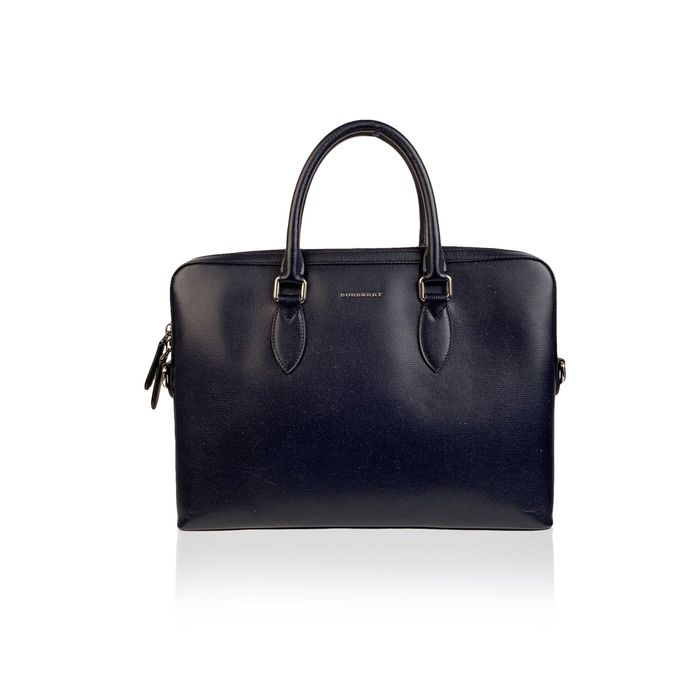 Burberry - Blue Leather Satchel with Shoulder Strap - Briefcase