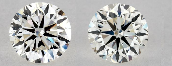 2 pcs Diamante - 1.00 ct - Brillante - J - VVS2, VG/VG/VG + VG/EX/VG | IGI