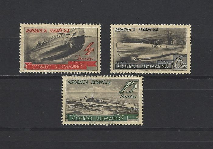 Spain 1938 - Stamps from the Submarine Post miniature sheet - Edifil SH 781