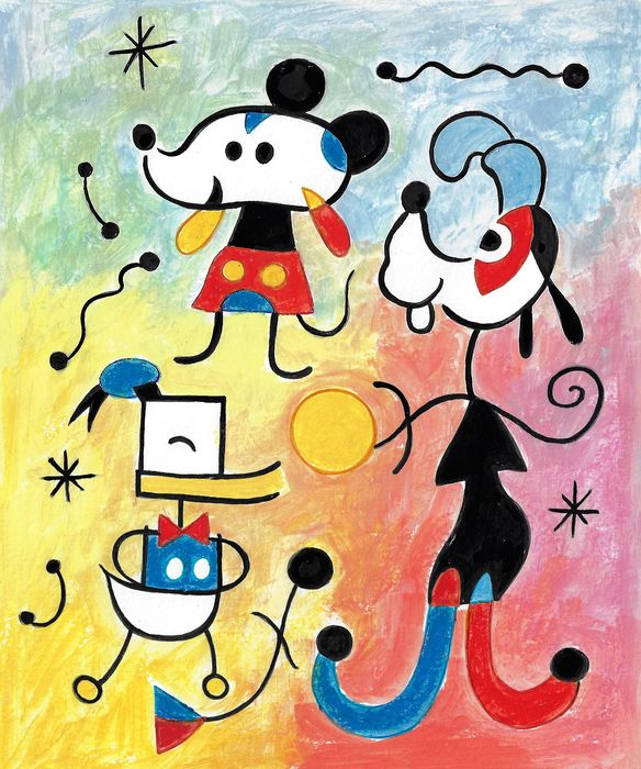 Mickey Mouse inspired by Joan MIRÓ Paintings - Original Painting - Tony Fernandez Signed - 50 x 35cm