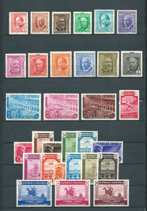 Spanien 1936 - Mail and Airmail Press complete sets - Edifil 695/710, 711/725