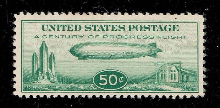 """United States of America 1933 - 50 cents Zeppelin Chicago Flight issue """"the so called Baby Zepp"""" in MLH condition"""