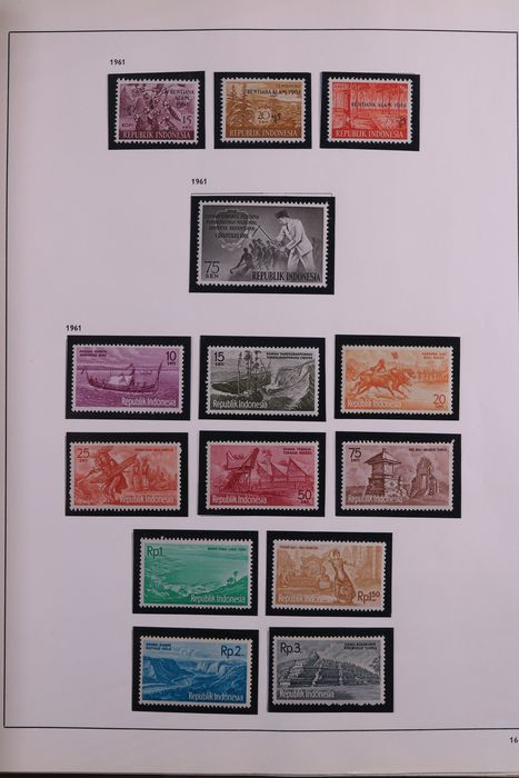 Indonesia 1942/1981 - Collection in old preprint album and collection on loose sheets + cards