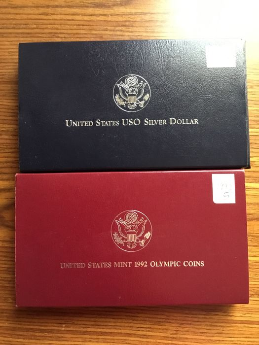 USA. Dollars 1991 + 1992 Commemorative Proof (2 different)