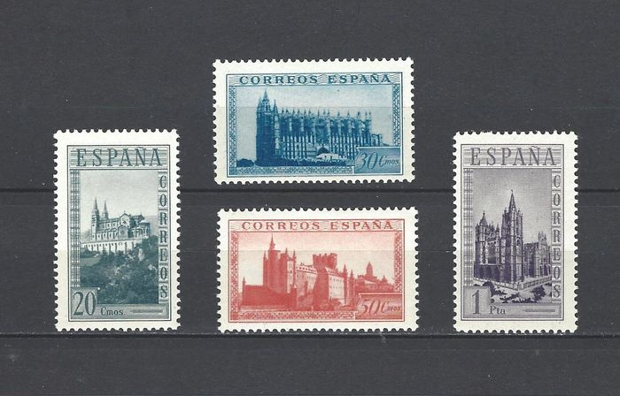 Spanien 1938 - Stamps from sheets, Historic Monuments, changed colours - Edifil Sh 847cc