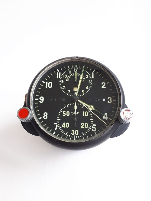 USSR (Russia) - Air Force - Watch, AChS-1 (АЧС-1) № 26212 Russian USSR Military Air Force Aircraft Cockpit Clock MIG/SU