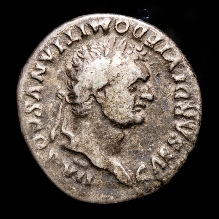 Roman Empire. Domitian (AD 81-96). AR Denarius,  Rome mint - PRINCEPS IVVENTVTIS, garlanded and lighted altar
