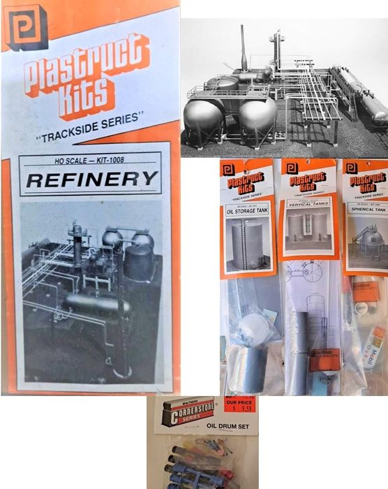 Walthers, Plastruct H0 - 1008 / 1015 / 1018 / 1026 /  933-3100 / 933-3114 - Scenery - Refinery