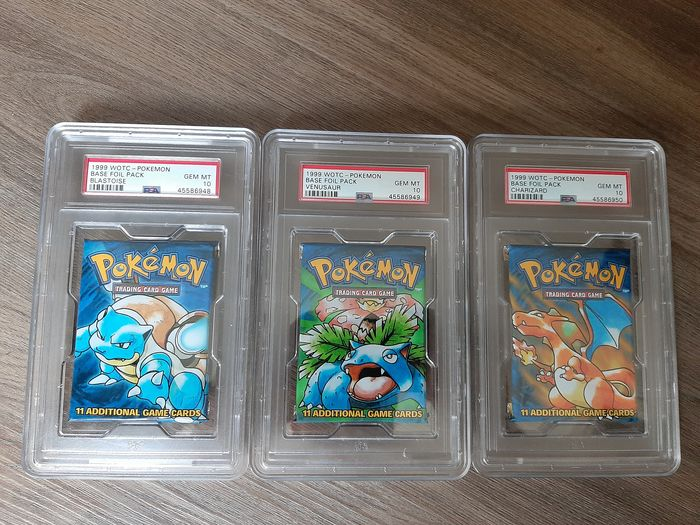 Wizards of The Coast - Pokémon - Booster Pack PSA 10 Base Set Unlimited Booster Packs x3 - 1999
