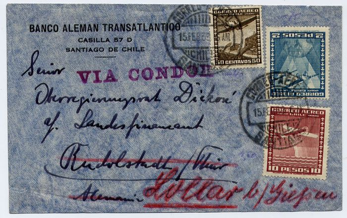 Peru + Chile 1939 - Condor Zeppelin : lot of 2 covers :L 426 + L462 - From South America to Europe -