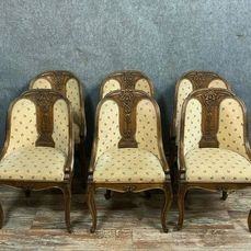 Series of 6 gondola chairs - Walnut - Around 1850