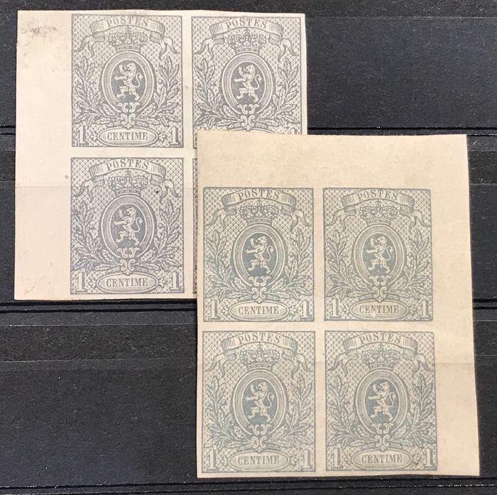 Belgien 1866/1867 - Small lion - 1c imperforate - Block of four - On two distinctive paper types and with nuances - OBP / COB 22