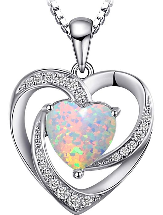 October Birthstone-925 Solid Silver necklace with pendant with Opal 2.40 ct and white zircon ct 0.40 - 2.5 g