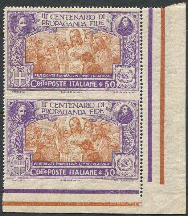 Italien Königreich 1923 - Propaganda Fide, vertical pair imperforated in the middle and at the bottom. - Sassone N. 133i
